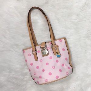Dooney and Bourke Pink Polka Dot Bucket Bag Purse
